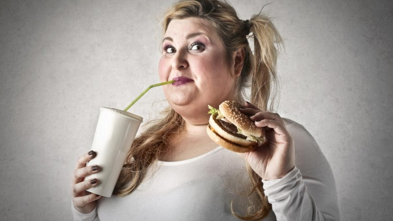 Woman-Overweight-Junk-Food-Soda-Hamburger
